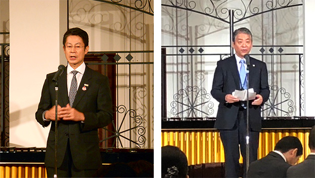 湯﨑県知事と小川検事長の挨拶